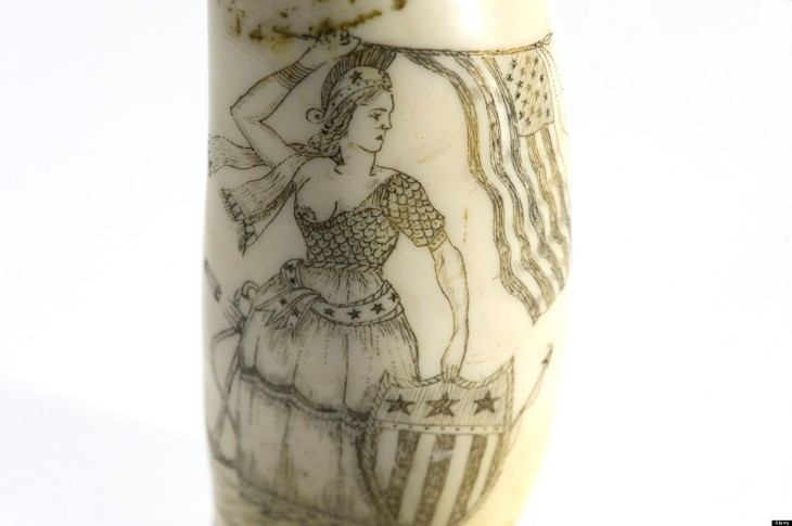Scrimshaw, handiwork created by whaler made from the teeth of a sperm whale. Image shot 2010. Exact date unknown.